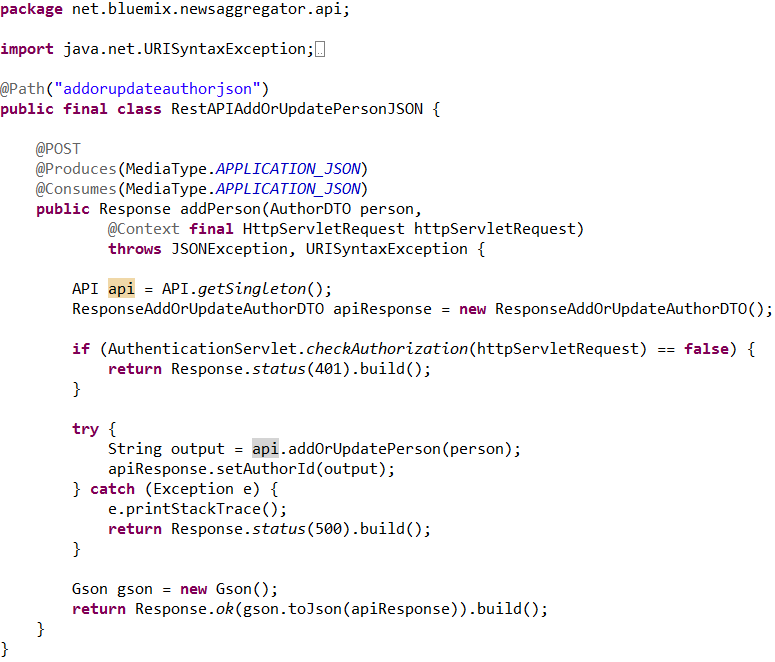 Rest Apis In Bluemixfo Implemented Via Jax Rs And Apache Wink