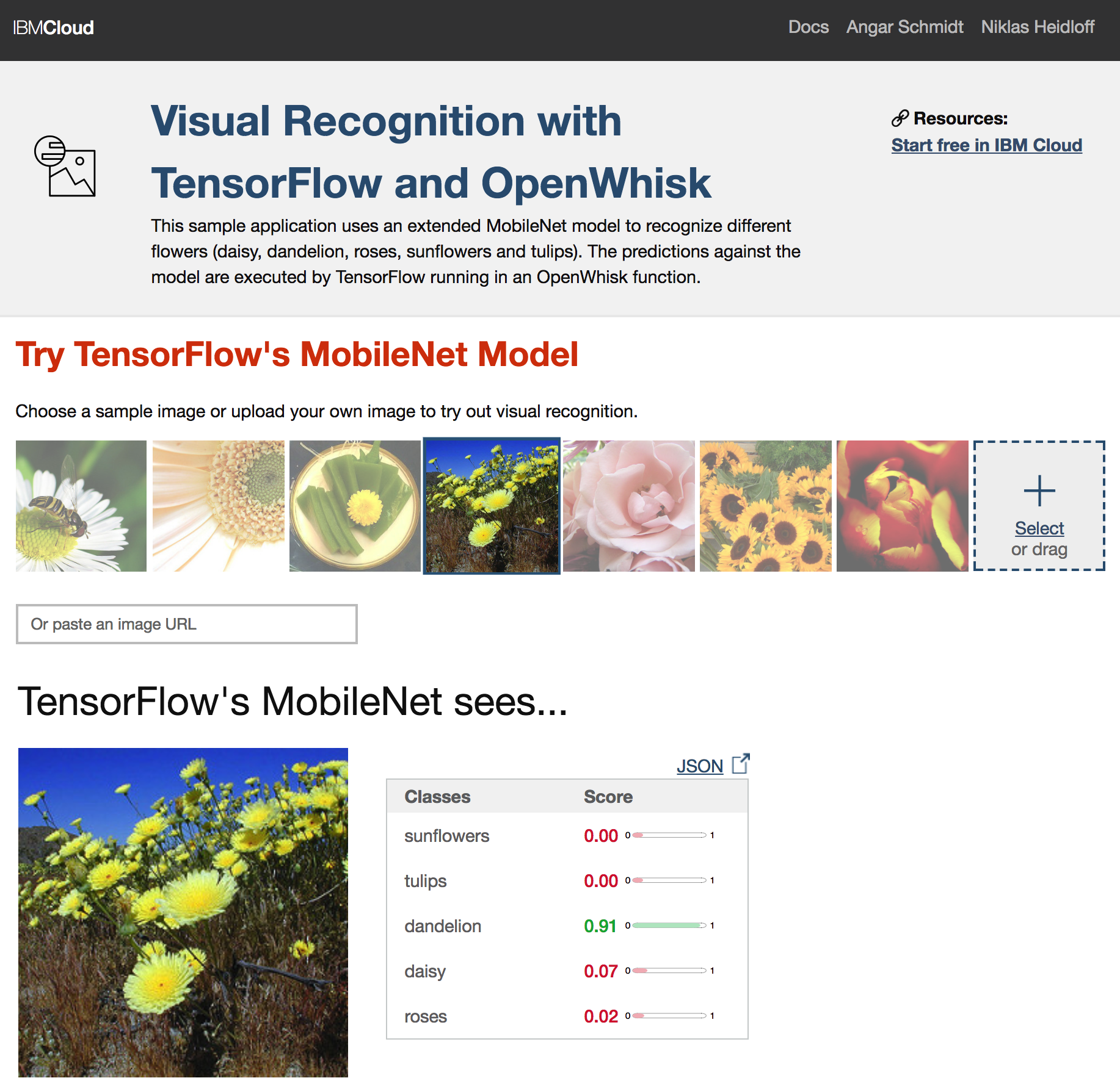 Sample Application how to use TensorFlow in OpenWhisk