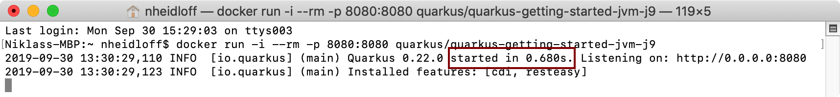 Quarkus app starts in around .7 seconds